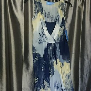 NEW Vera Wang XS summer dress lined blue sleeveles